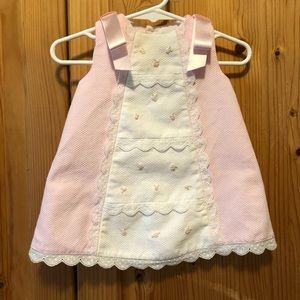 Luli & Me Pink and White Pique Dress w/Satin Bows